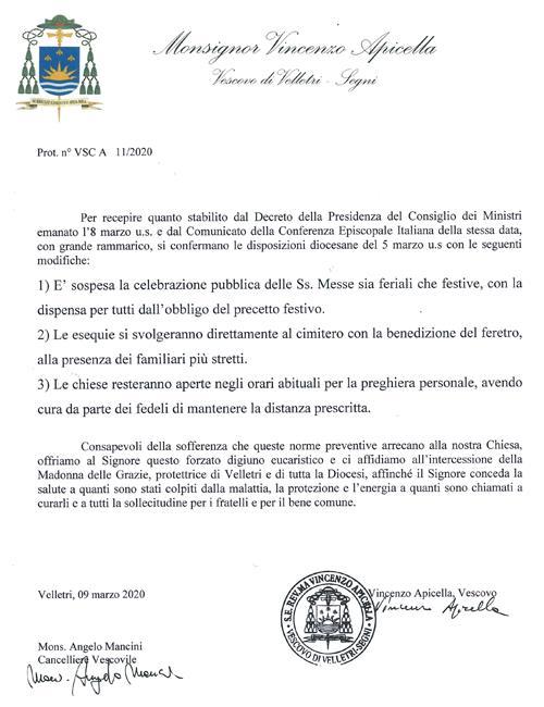 nuovo decreto coronavirus del vescovo
